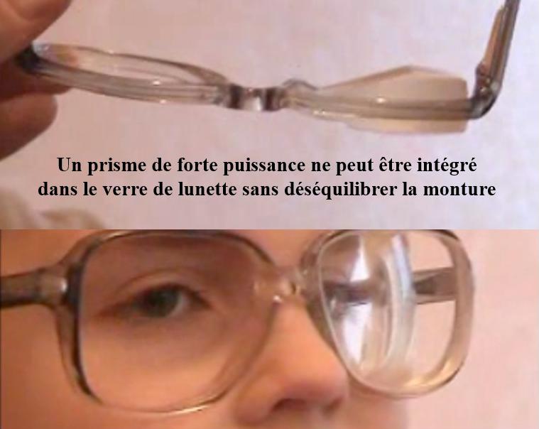 un prisme de forte puissance ne peut être intégré dans le verre de lunette sans déséquilibrer la monture